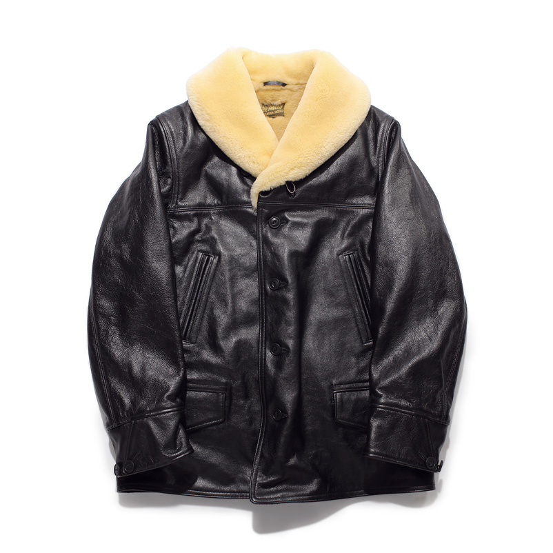 Shawl Collar Leather Coat